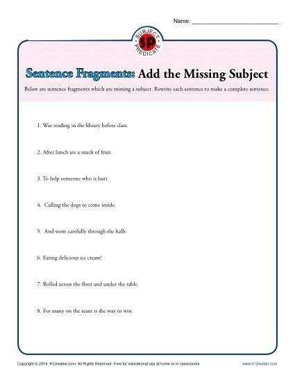 sentence fragment worksheets  grade worksheets master