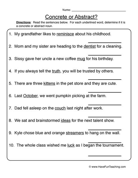 common or abstract nouns worksheet grammar abstract