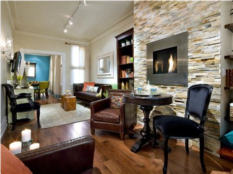Electric Fireplace with Stone Wall Living Room