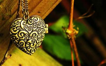 Heart Wallpapers Chain Pendant Jewelry Backgrounds Gold
