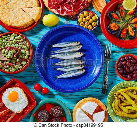 mad鑽e cuisine mad blande tapas middelhavet spanien cuisine mest stock fotografier søg efter foto clipart csp34199195