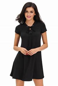 Wholesale Sexy Black Casual Lace-up Swing Dress
