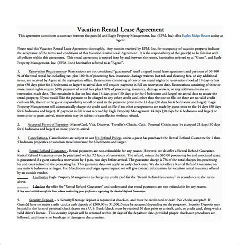 sample rental agreement template   documents
