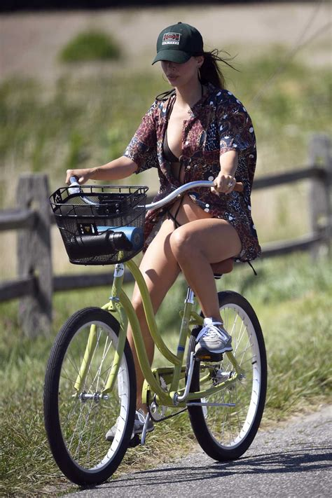 Emily Ratajkowski in a Black Bikini Does a Bike Ride in ...