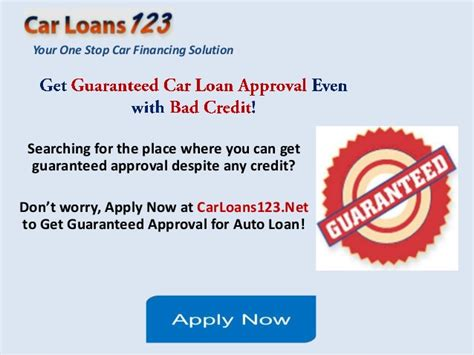 Guaranteed Car Loan Approval Bad Credit, Get Instant