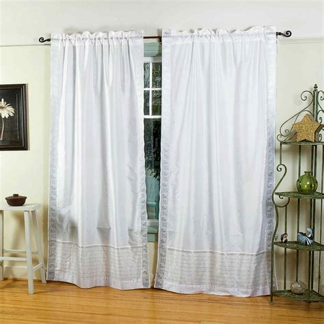 white silver rod pocket sheer sari curtain drape panel