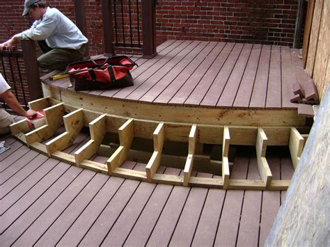 wood deck steps set  stairs image courtesy