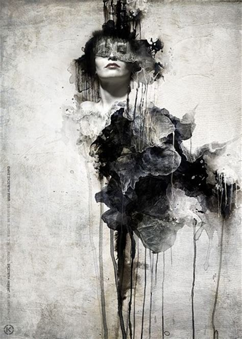 Abstract Black And White Portrait by Abstract Black And White Creative Drawing Drips