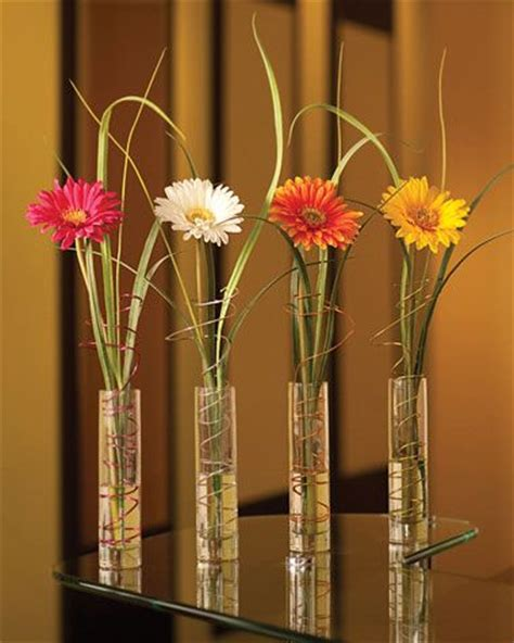 Thin Vase Centerpiece Ideas by Different Height Vases With Individual Flowers