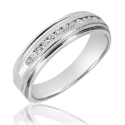 1 4 ct t w diamond men s wedding band 10k white gold my trio rings bt536w10km