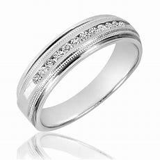 14 Ct Tw Diamond Men's Wedding Band 10k White Gold