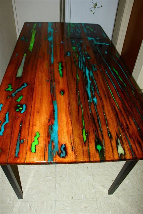 glow table glow table resin furniture wood table
