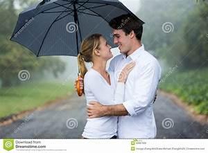 Couple Umbrella Rain Stock Photo - Image: 50967509