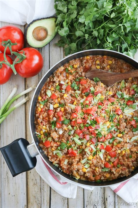 one pot mexican rice skillet dinner two healthy kitchens