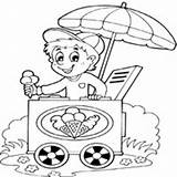 Ice Cream Coloring Selling Boy Food Pages Summer Surfnetkids Fun Candy sketch template