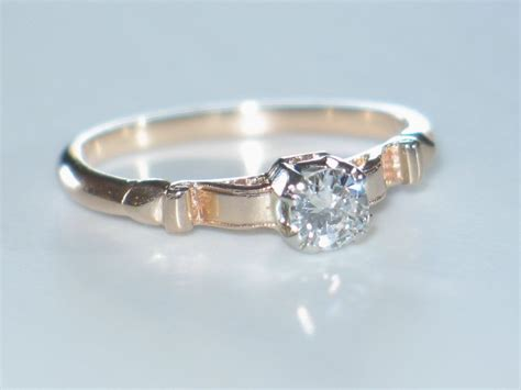 Diamond Engagement Ring. Antique Rose Gold & Diamond Solitaire. From Shortstack On Ruby Lane