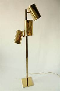 Koch and lowy all brass three heads floor lamp 1970s usa for Brass floor lamp made in usa