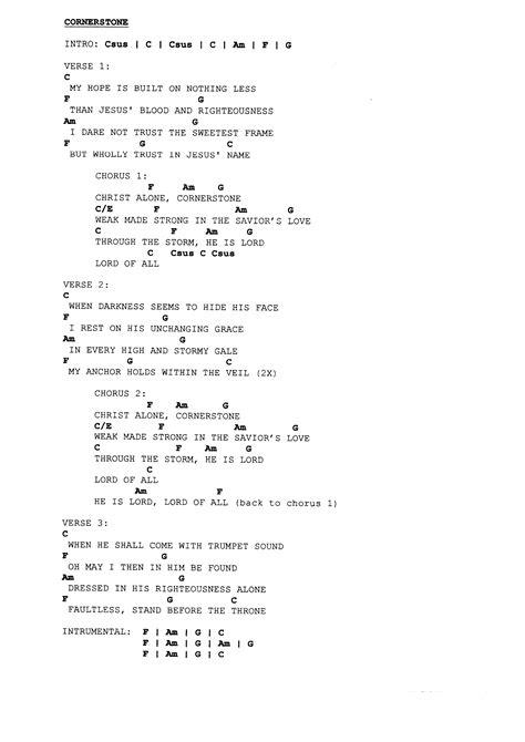 Beautiful Christ Alone Cornerstone Chords Images - Beginner Guitar ...