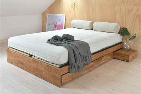 Contemporary Platform Double Bed Solid Oak