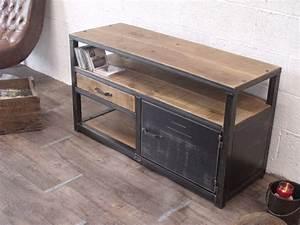 Meuble Tv Industriel : meuble tv en bois et metal de style industriel micheli design ~ Preciouscoupons.com Idées de Décoration