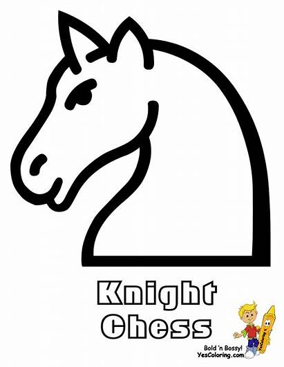 Chess Coloring Pages Knight Piece Medieval Easy