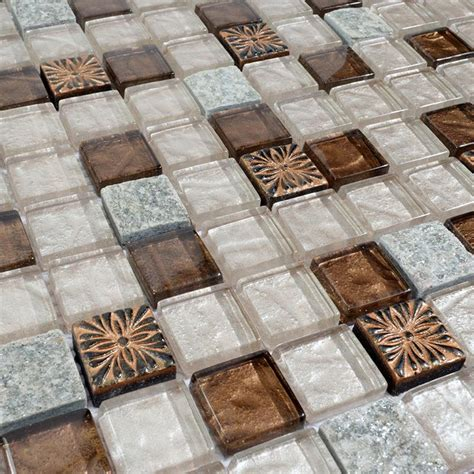 crystal glass tile natural stone & glass blend mosaic wall