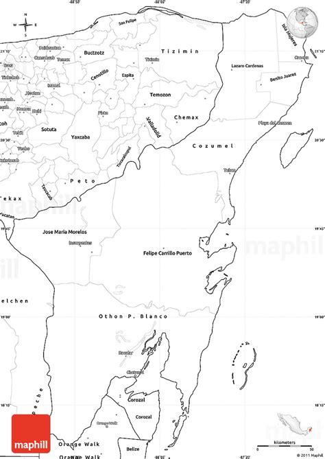 blank simple map  quintana roo