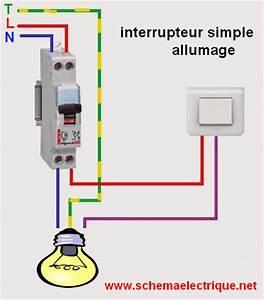 schema electrique interrupteur simple allumage branchement With allumage automatique lumiere maison