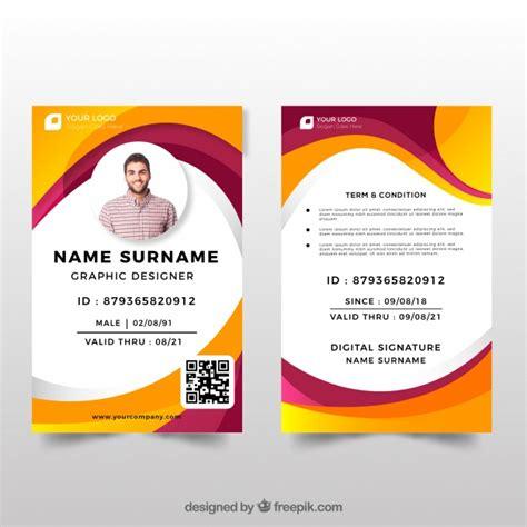 student id card template cdr plantilla de tarjeta de identificaci 243 n con dise 241 o plano