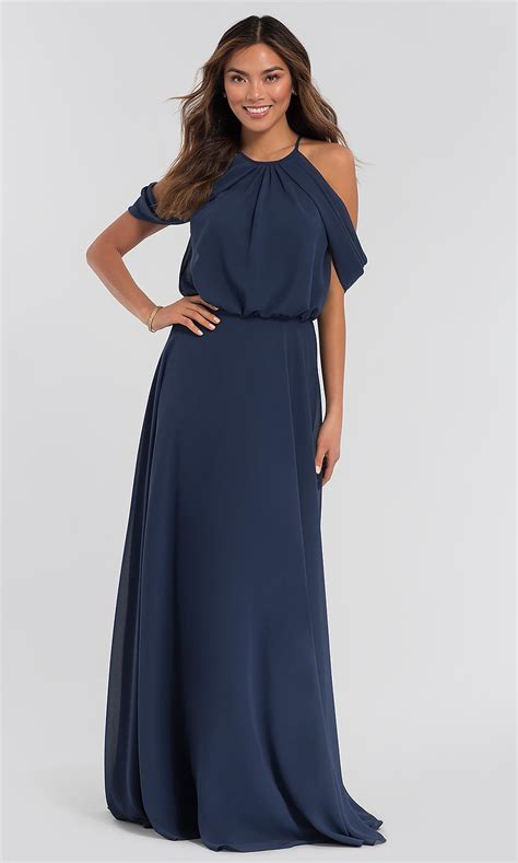 cold shoulder kleinfeld long bridesmaid dress
