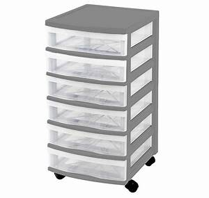 Clear, Floor, Storage, -, 6, Drawers, W, Wheels, -, Assorted, Colours
