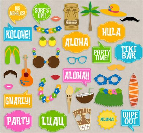 35 luau theme hawaii photo booth props pixels and pine printables
