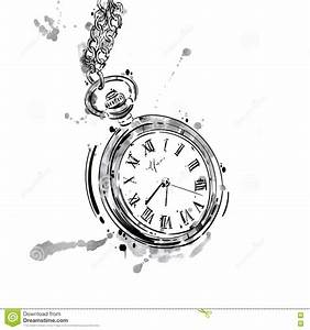 Vector Abstract Illustration Of A Pocket Watch On A Chain ...