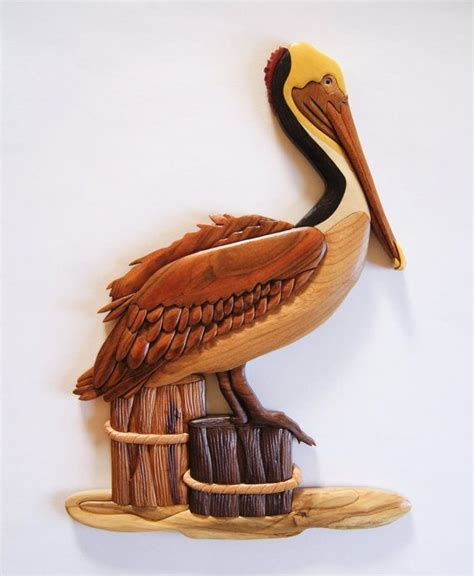 brown pelican intarsia    approximately