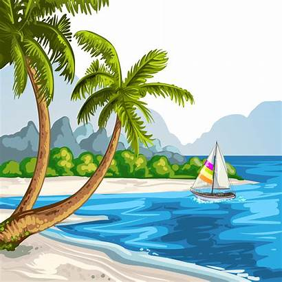 Beach Scenery Drawing Sea Vector Scene Silhouette