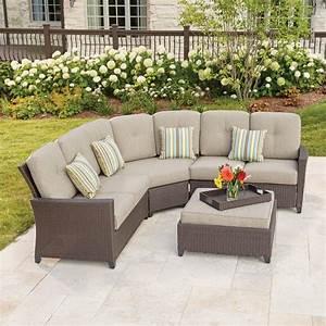 Hampton bay tacana 4 piece wicker patio sectional set with for Outdoor sectional sofa metal