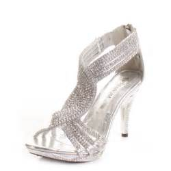 silver shoes for wedding silver womens diamante wedding high heel prom shoes sandals size 3 8 ebay