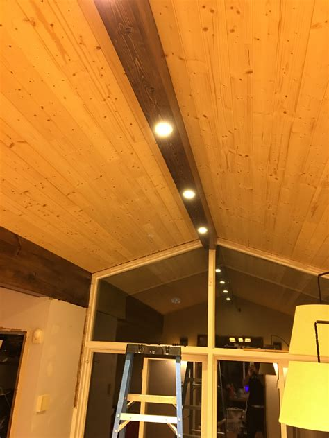 pine faux beam  recessed lighting dave eddy