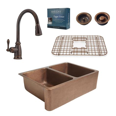 copper kitchen sink faucets sinkology pfister all in one rockwell 33 in farmhouse