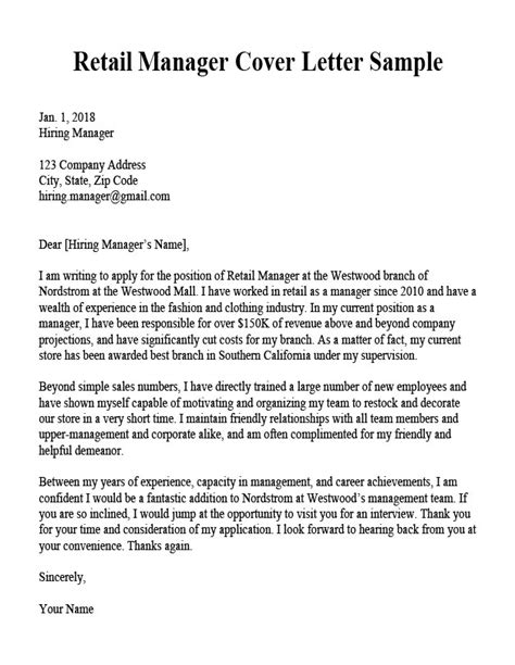 Retail Sales Manager Resume Exles by Cover Letter Retail Sales Manager Retail Manager Cover
