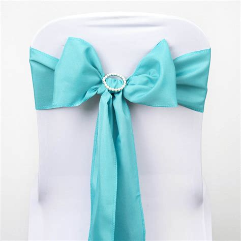10 turquoise polyester chair sashes ties bows wedding