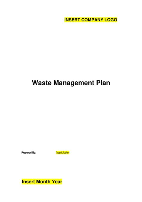 waste management plan examples  examples