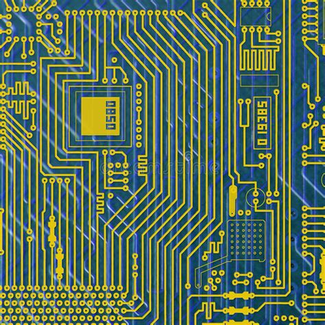 Circuit Board Electronic Golden Blue Background Stock