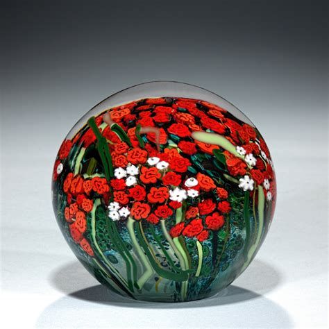large red rose  babys breath bouquet paperweight