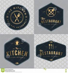 set of vintage restaurant and food badges labels cartoon With kitchen colors with white cabinets with round sticker logo
