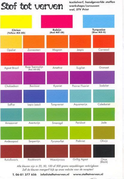 fabric dye colors kleurkaart incl recepten dyeing and painting fabric