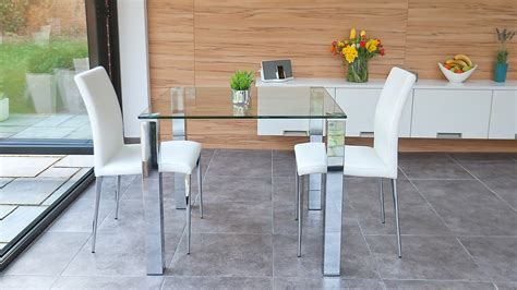 stylish small dining set chrome and clear glass modern