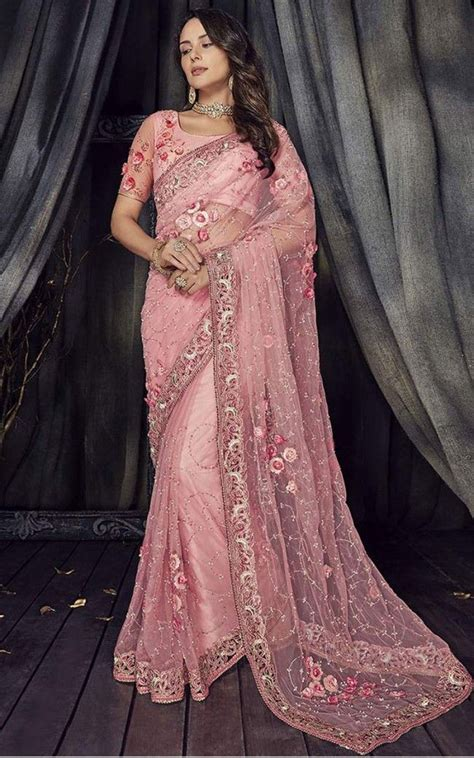 buy embroidered net saree in pink online sareeslane com saree in 2019 saree how to wear