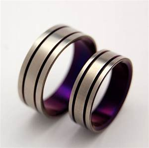 titanium wedding band set purple wedding ring mens ring With purple wedding ring