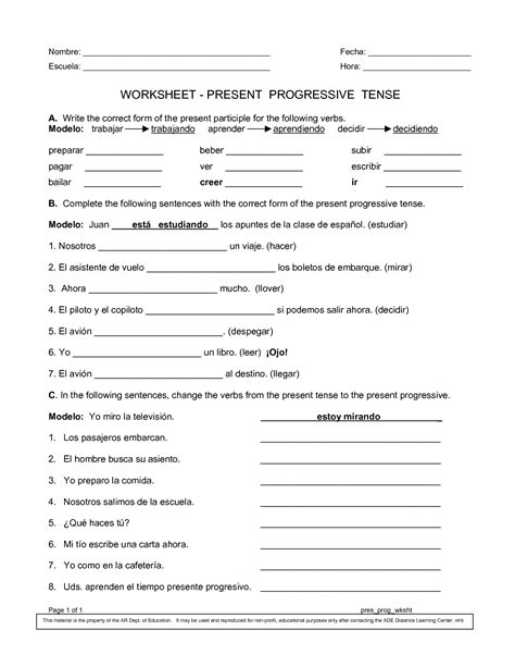 Spanish Worksheets Printables  Present Progressive